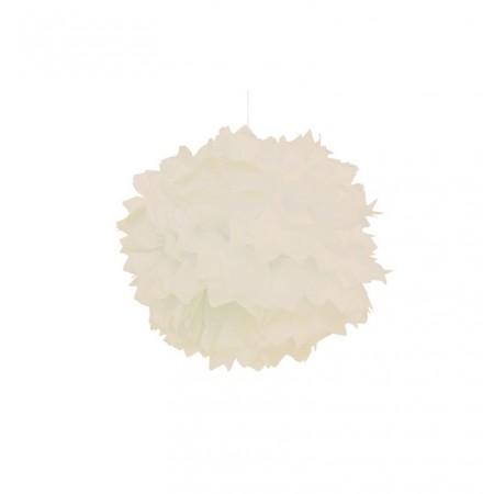 Set de 2 pompons blancs en papier de soie diametre 40 cm