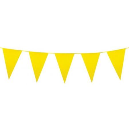 Guirlande de fanions jaune- 10 m  Fanion de 30 x 20 cm