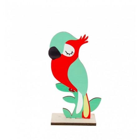 Centre de table perroquet en bois - recto verso hauteur 20 cm