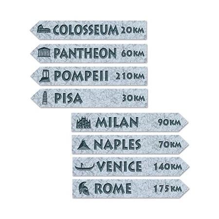 4 Panneaux directions italiennes – Carton R/V 8X58 cm