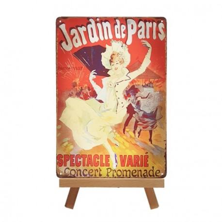 Plaque Métal Jardin de Paris - 20 x 30cm