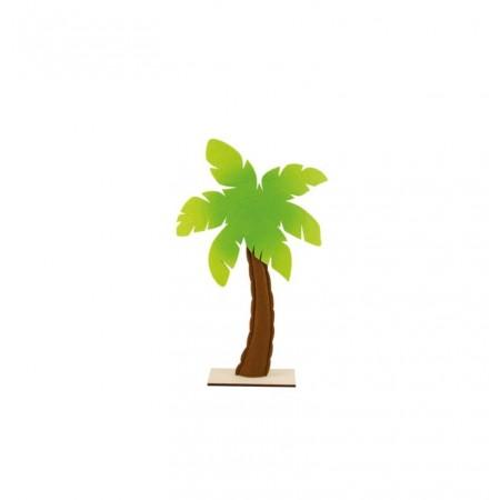 Palmier en feutrine et bois sur socle 30 x 53 cm