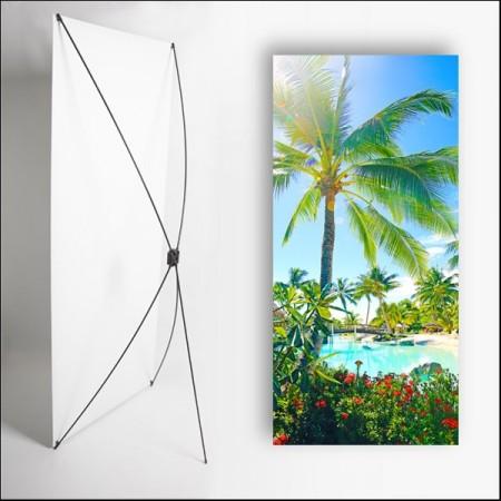Kakemono Exotique palmier 2 - 180 x 80 cm sur Toile M1 avec structure  X- Banner