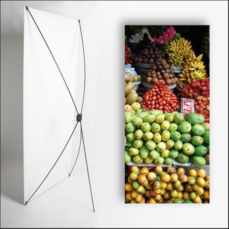 Kakemono Exotique Fruits - 180 x 80 cm sur Toile M1 avec structure  X- Banner