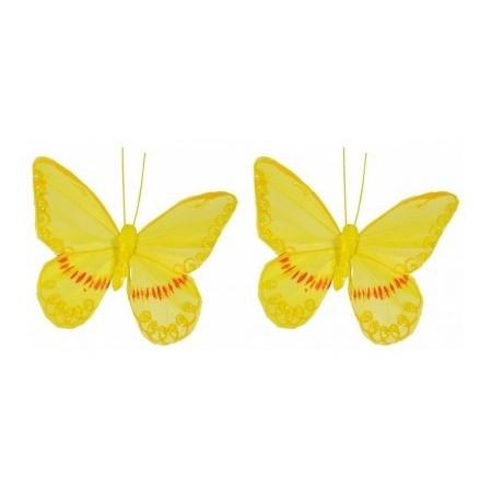Set de 2 Papillons Jaunes /  10x8.5 cm