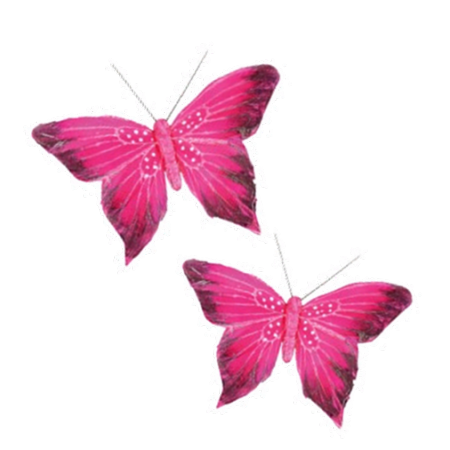 Set de 2 Papillons Fuchsia /  12x10 cm