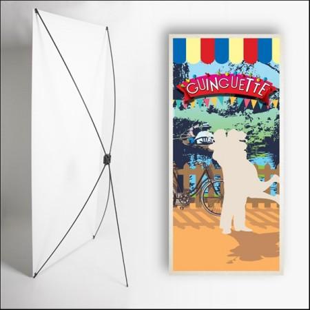 Kakemono Guinguette 6  - 180 x 80 cm - Toile M1 avec structure  X- Banner