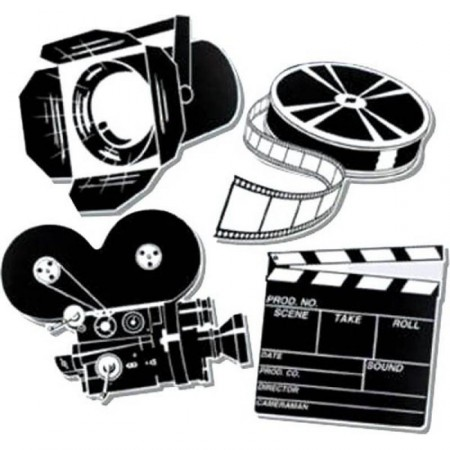 Set de 4 Décorations cinema 40 cm - carton imp R/V