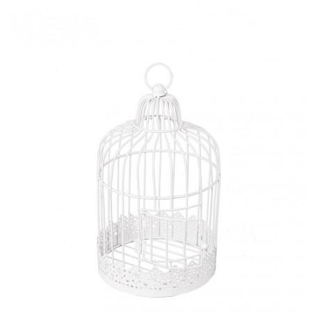Cage vintage métal blanc 20 x 20 x 30 cm