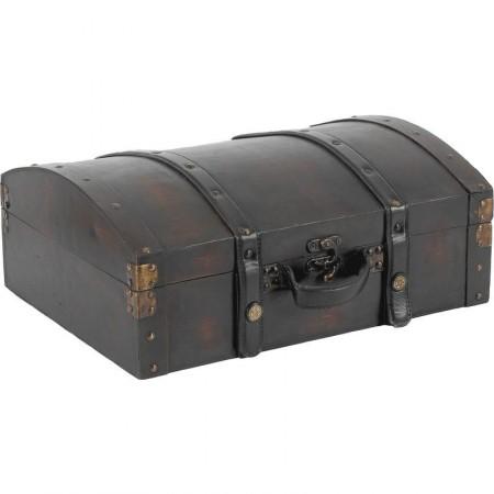Valise en bois et cuir 35 x 26 x 14
