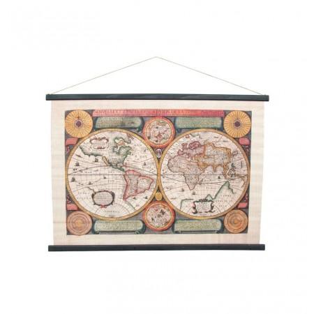 Mappemonde - 104 x 72 cm - tissu et bois