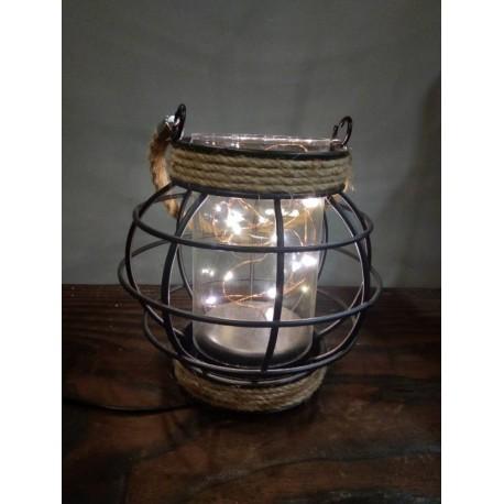 Lampe ronde en fer et verre - 13.5x14cm  (2 piles LR3 non comprises)