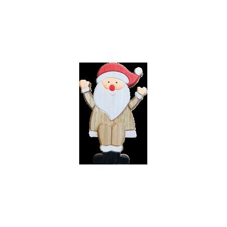Père Noël assis à poser - Bois - Haut 16,5cm