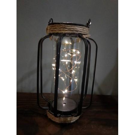 Lampe en fer et verre GM - 13.5x22cm (3 piles LR3 non comprises)