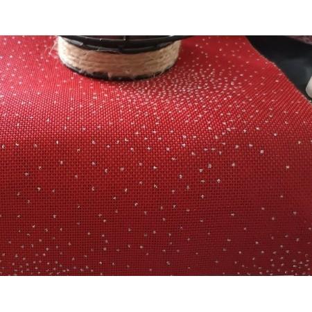 Toile de jute rouge CELESTE - paillettes argent - Larg150cm - vendu au m