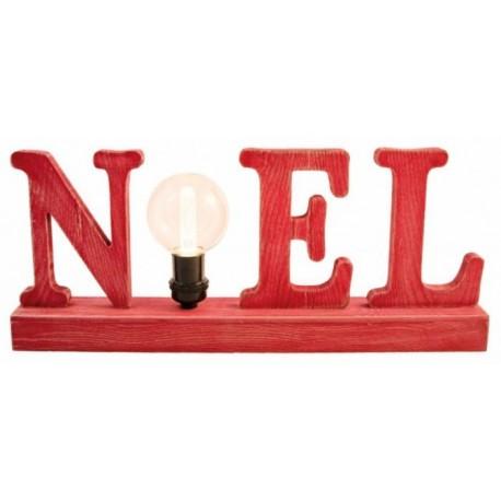Enseigne rouge NOEL en bois avec Ampoule - Dimensions : 45 x 8 x 18,5 cm