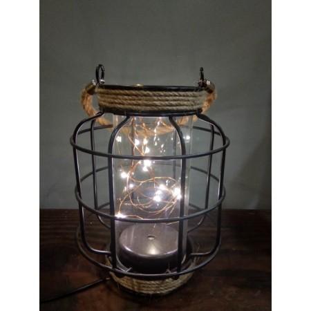 Lampe en fer et verre - 14 x 18cm (3 piles LR3 non comprises)