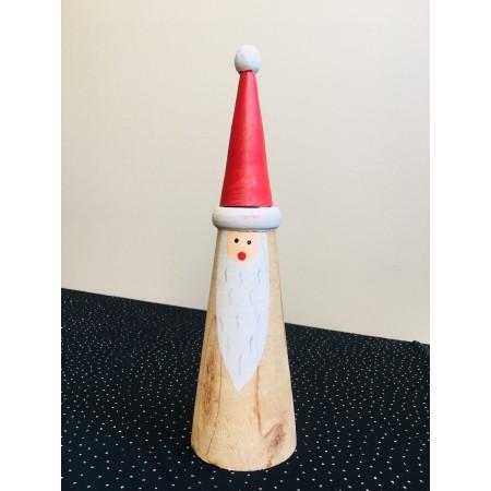 Père Noel conique en bois - Haut 23cm
