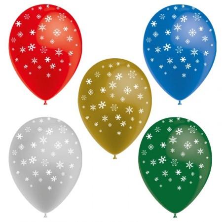 Ballons motif Flocons /  pochette de 8 - Diam. 29cm