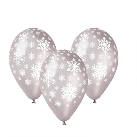 Ballons argent x 10  motif flocons de neige - diam 30