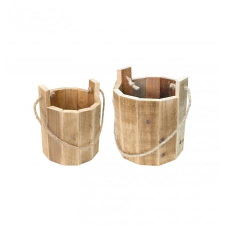 Set de 2 seaux en bois de 16.5 x 16 cm et 21 x 18 cm