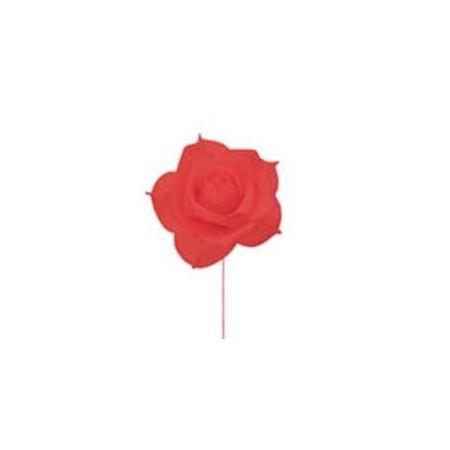 Rose rouge sur tige diametre 19 cm en mouse