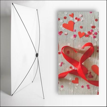 Kakemono Saint Valentin 1 - 180 x 80 cm sur Toile M1 avec structure  X- Banner