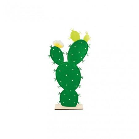 Cactus en feutrine et bois sur socle 27 x 55 cm