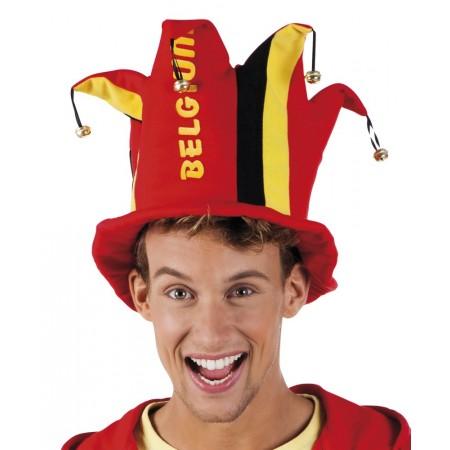 Chapeau a grelots aux couleurs Belgique en feutrine