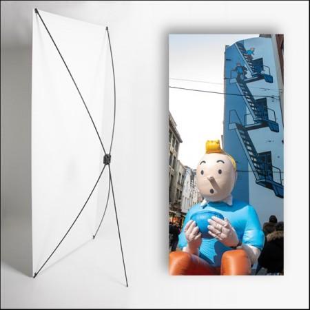 Kakemono Belgique Tintin - 180 x 80 cm sur Toile M1 avec structure  X- Banner