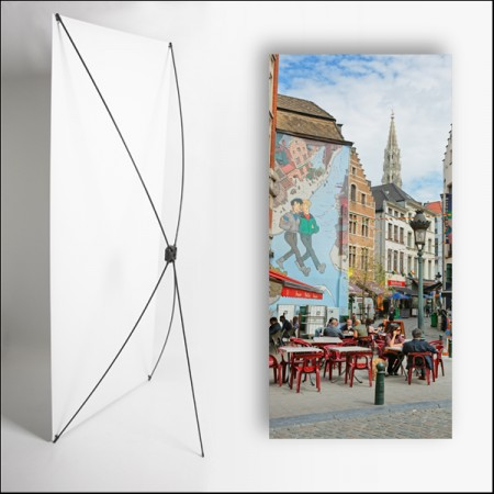 Kakemono Belgique Terrasse - 180 x 80 cm sur Toile M1 avec structure X- Banner
