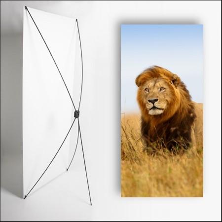 Kakemono Afrique Lion  - 180 x 80 cm - Toile M1 avec structure  X- Banner