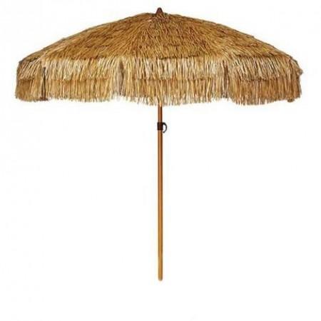 Parasol exotique en raphia avec pied - Diamètre 170 cm