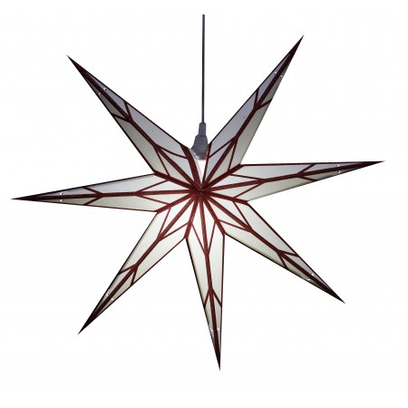 Grande étoile blanche, Liseret rouge - papier - 60cm