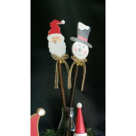 Pic déco Père Noël  - Bois - Haut 47cm