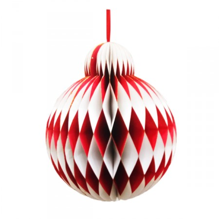 Boule Rouge et blanc brillant - Nid d'abeille papier - Diam 30cm