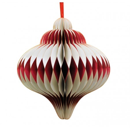Boule Diamant Rouge et blanc brillant - Nid d'abeille papier - Diam 20cm