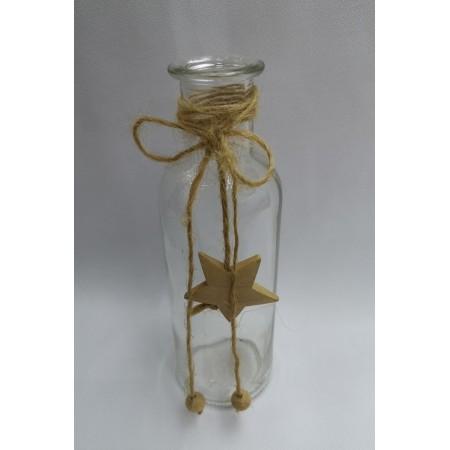 Bouteille avec étoile - verre et bois - Haut 16cm diam. 5 cm