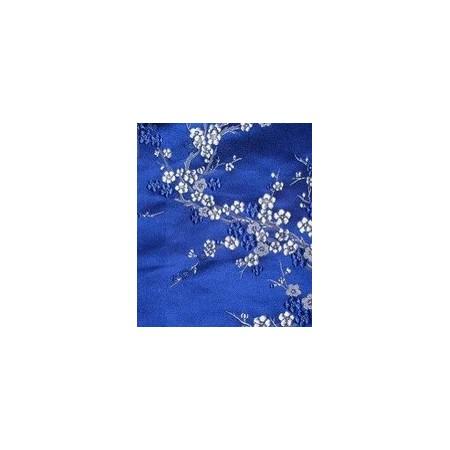 Tissu bleu à fleur blanche / Larg. 150 cm - coupe de 1m