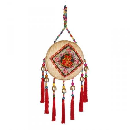 Suspension chinoise - bois, metal, tissu - hauteur 66cm diam 22cm
