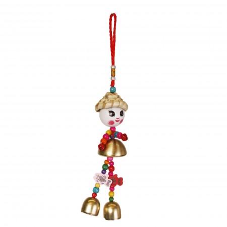 Marionette chinoise - bois et metal - hauteur 32cm diam 5cm