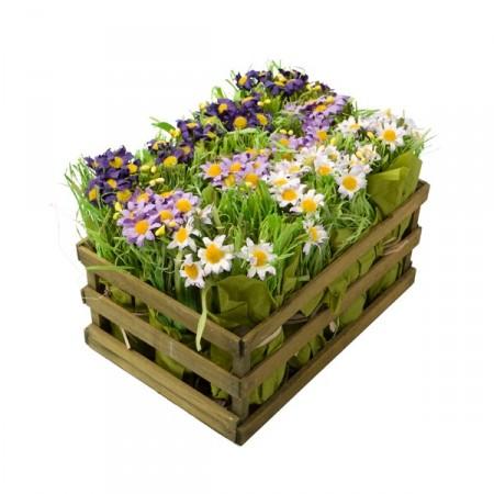 Cagette de 12 bouquets de fleurs 25 x 18 x 18 cm - bois et crépon*