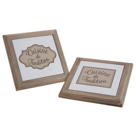 Dessous de plat - bois teinté et céramique - 20 x 20 x 2 cm (2 motifs assortis)