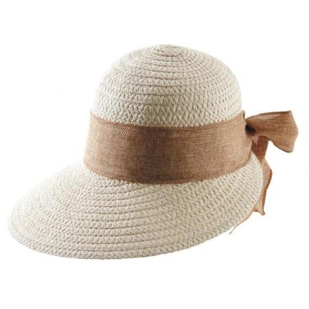 Chapeau femme en paille synthétique et noeud marron