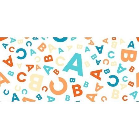 Tissu Alphabet - Polyester - Larg. 140cm -  le ml