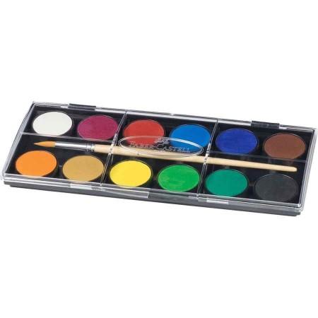 Peinture aquarelle avec pinceau - 12 couleurs -  22 x10 cm