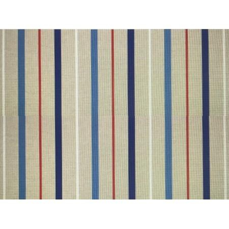 Tissu rayé rouge/beige/bleu/gris -  coton et polyester larg 140 cm