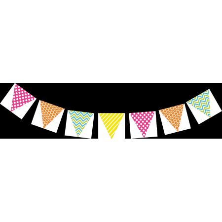 Guirlande graphique - 8 fanions triangulaires 20 x 20 - papier - 2m