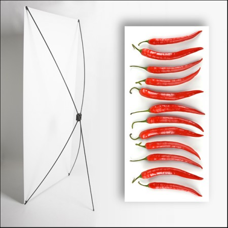 Kakemono Rouge Piment  - 180 x 80 cm - Toile M1 avec structure  X- Banner