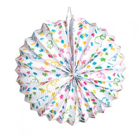 Lanterne ballon Confetti - papier - Diam. 22 cm (4 couleurs assorties)